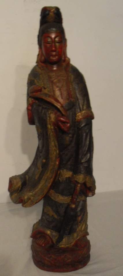 "22: Oriental polychrome carved figure 41""tall"