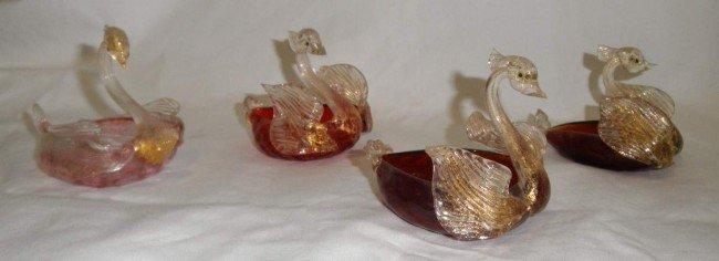 6: Set of four Salviati Venetian Swan Salts
