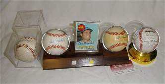 62: Four Autographed Baseballs and Don Drydale card
