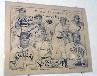 14: Negro league lithograph autographed by 7 players