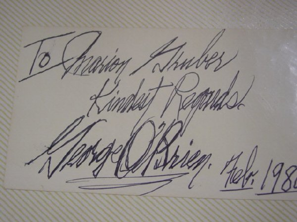 1023: Signed Card by George O'Brien -1980