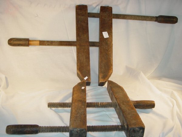 2024: Pair of Old Wooden Carpenter's Clamps