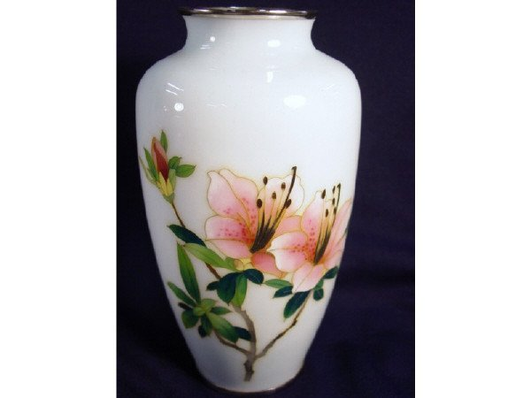"""10: Heavy Cloisonne vase 7"""" H. Micro wire inlay"""