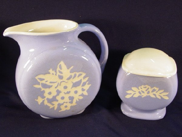 11: Harkerware Pottery pitcher and covered sugar