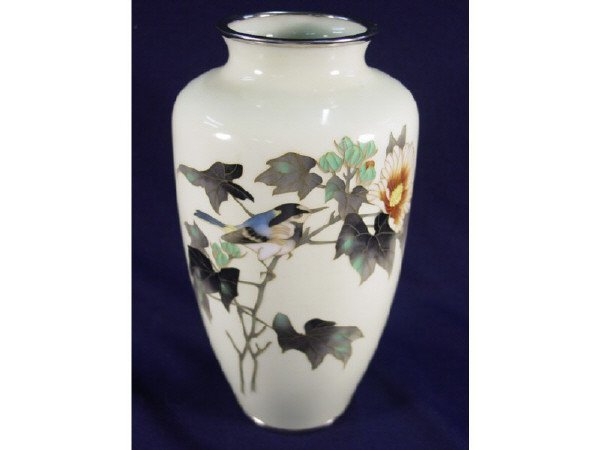 """12: Heavy Cloisonne vase 8 1/2"""" H. Micro wire inlay"""