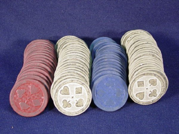 20: Old poker chips with Card suit design - Hearts,