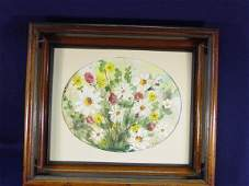 220 1800s Victorian Framed Watercolor Floral