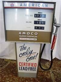 649: 1960's Amoco Metal Toy Super Premium Gas Pump