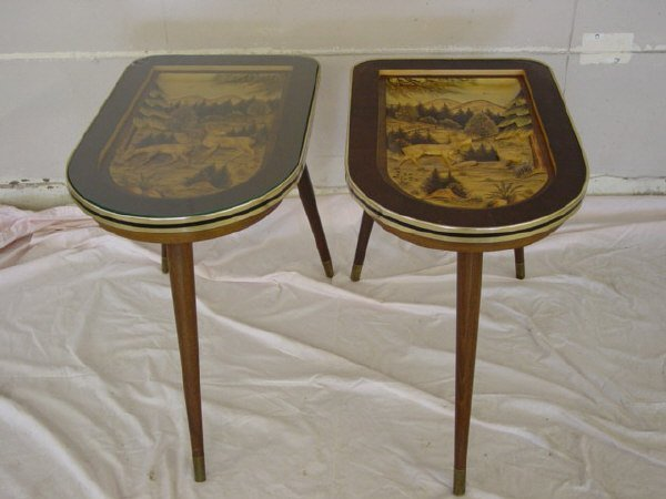 911: Pair of hand carved German end tables