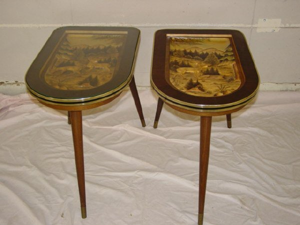 911: Pair of hand carved German end tables - 2