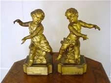 925: Pair of Gilded Cherub Lamp Bases