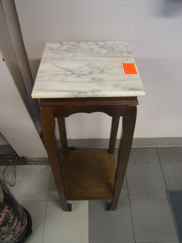 2: Tall Marble Top End Shelf