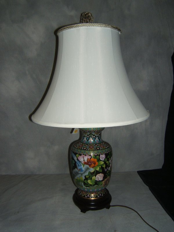 5: Cloisonne Lamp with Wood Base