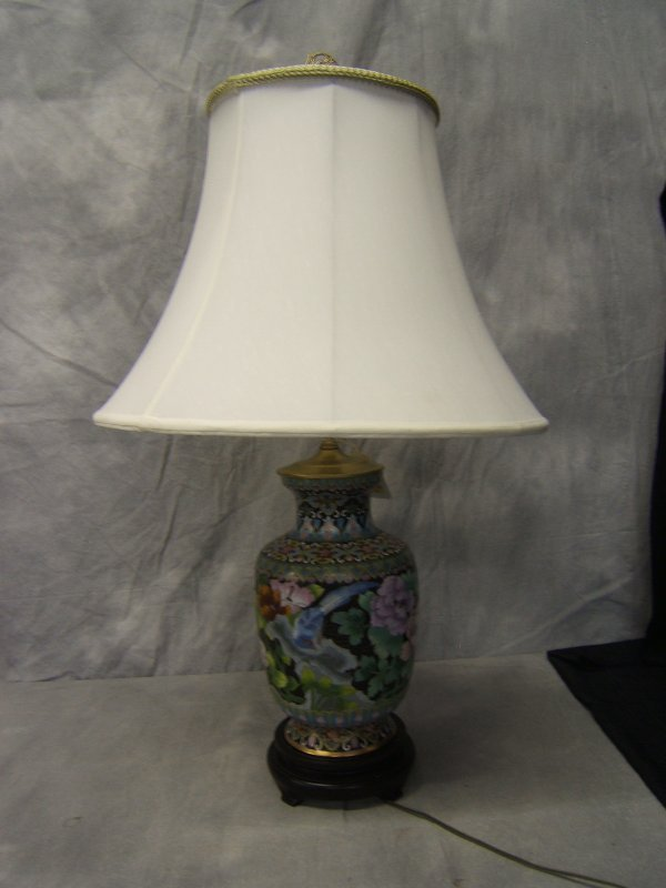 6: Cloisonne Lamp with Wood Base