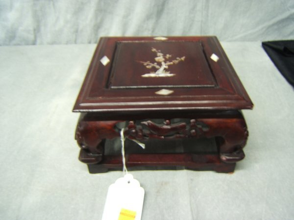 8: Hand Carved Wood Stand With Mother Of Pearl Inlay