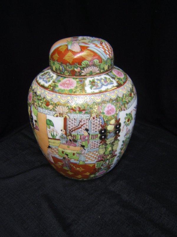 15: Large Ornately Enameled Porcelain Ginger Jar With L