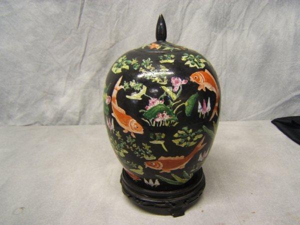 19: Oriental Enameled Porcelain Jar with Lid