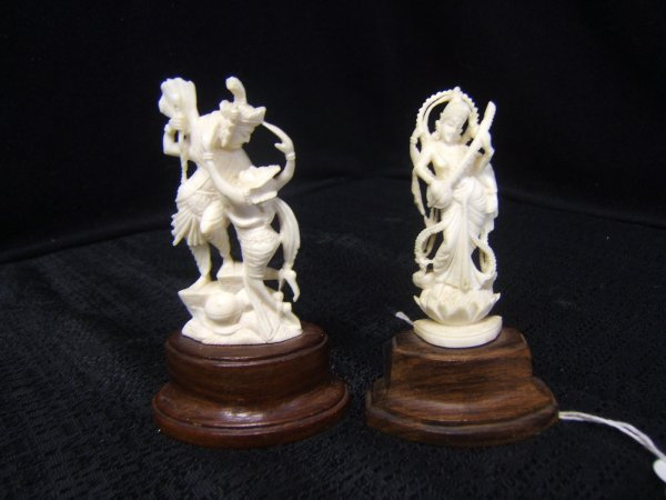 20: 2 Small Hand Carved Statues - Likely Ivory
