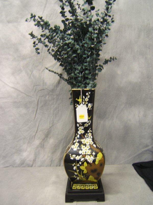 21: Oriental Enameled Porcelain Vase on Wood Base