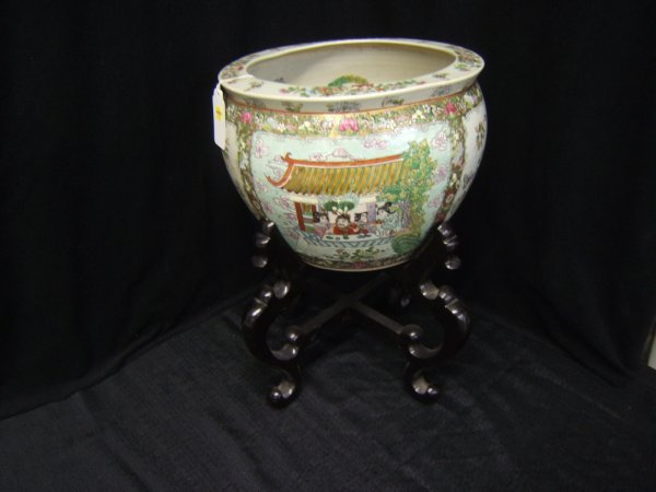 24: Oriental Enameled Porcelain Planter Pot