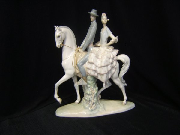 245: Lladro Porcelain Figurine of Horse & 2 Riders