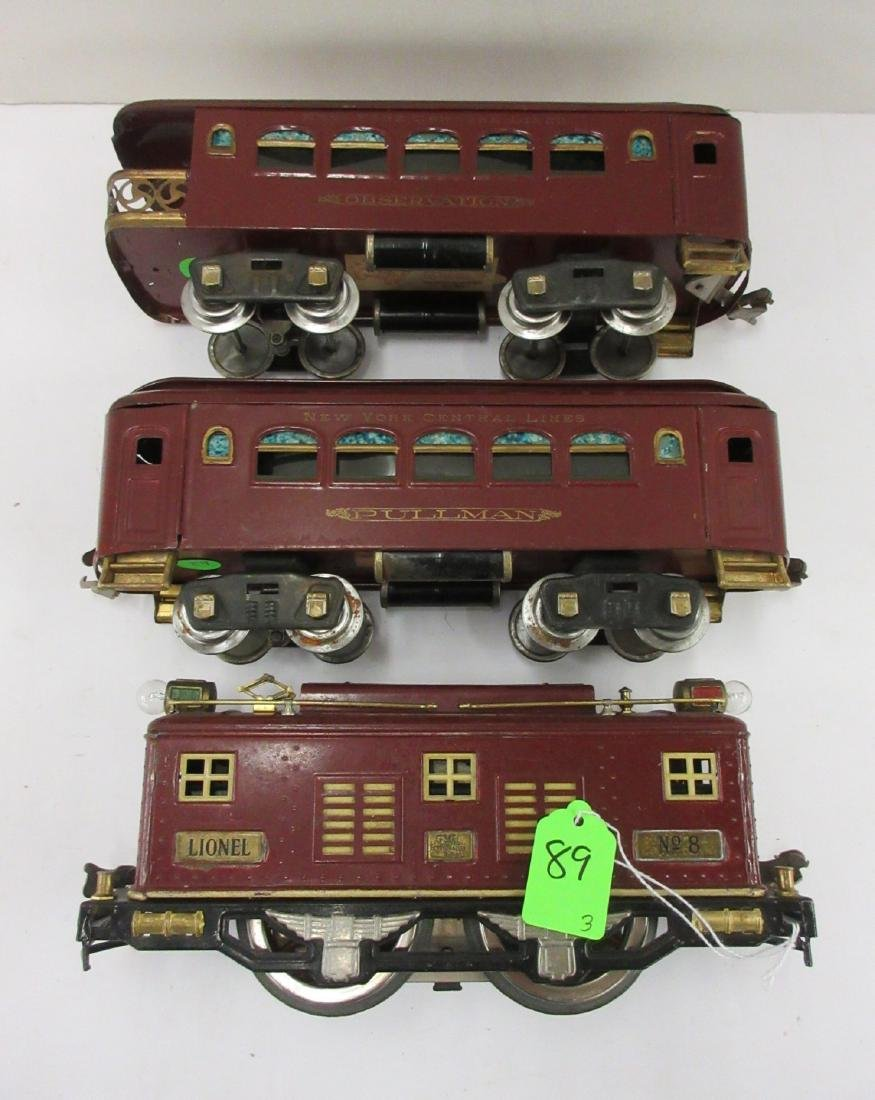 LIONEL MAROON LOCO WITH 35 AND 36 PASSENGER CARS