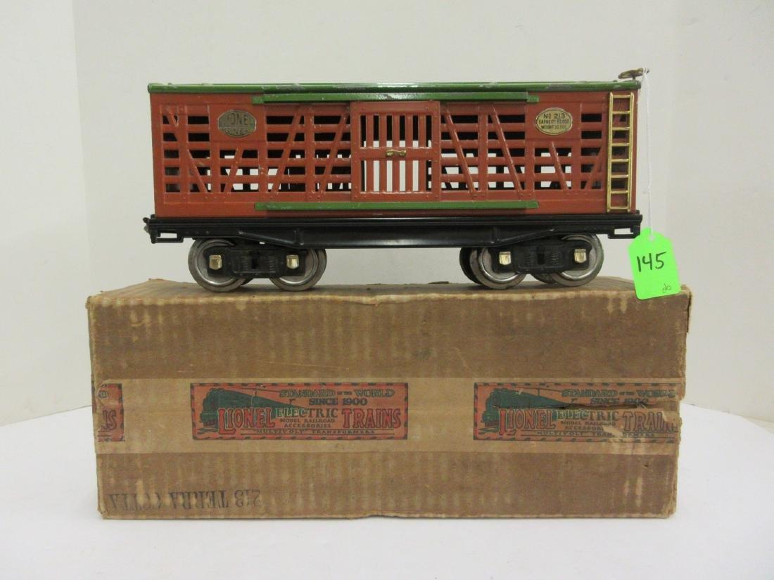 LIONEL 213 TERRA COTTA STOCK CAR OB