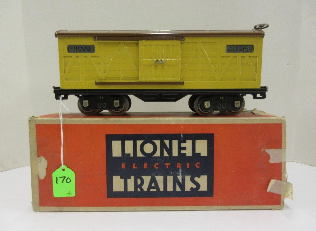 LIONEL 514 BOX CAR BROWN OVER YELLOW OB