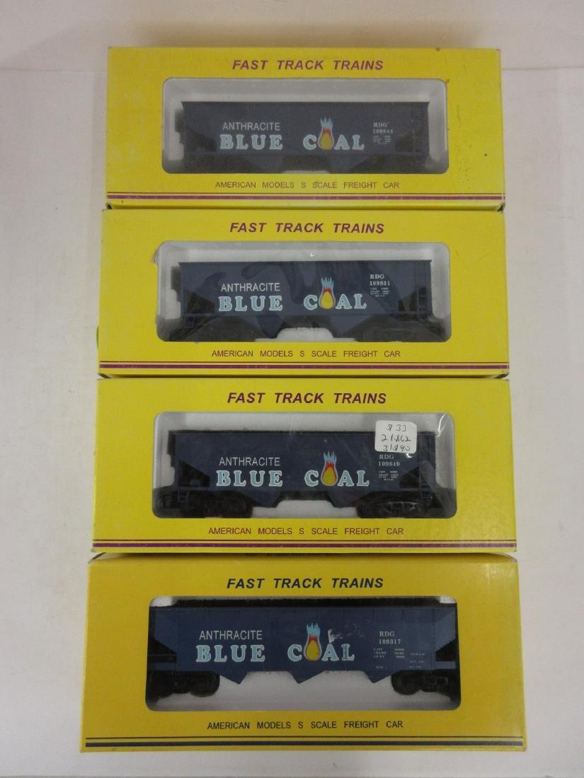 AMERICAN MODELS S GAUGE 4PC BLUE COAL HOPPERS DIFF #'S
