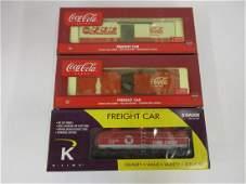 K-LINE S GAUGE 3 PC TEXACO TANK, COCA-COLA BOXCARS