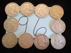 10PC Mixed Dates Franklin Half Dollars