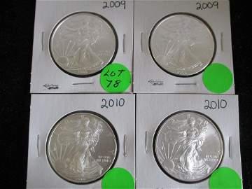 4PC Silver Eagles 1oz 2009, 2010