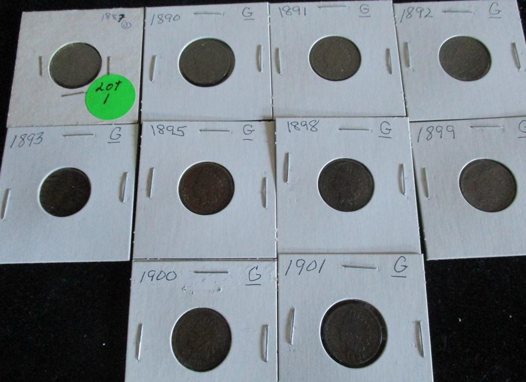 10PC Indian Head Cents 1887-1901