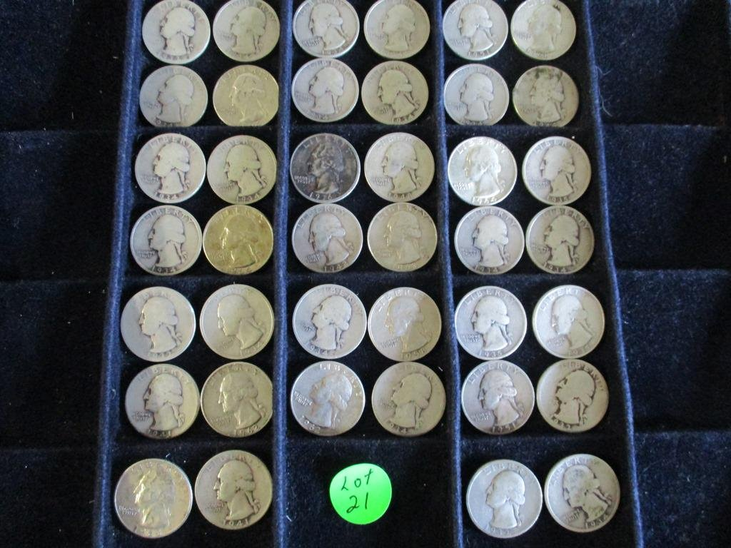 40PC Assorted Silver Washington Quarters $10 Face