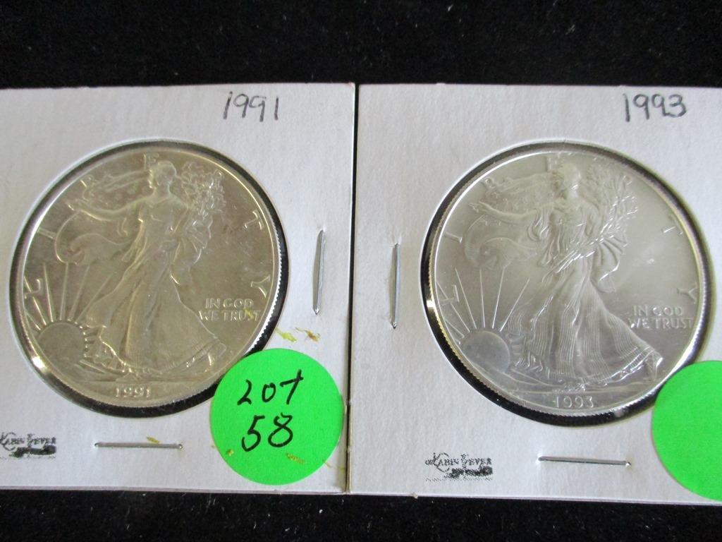 2PC 1991, 1993 Silver Eagles 1oz