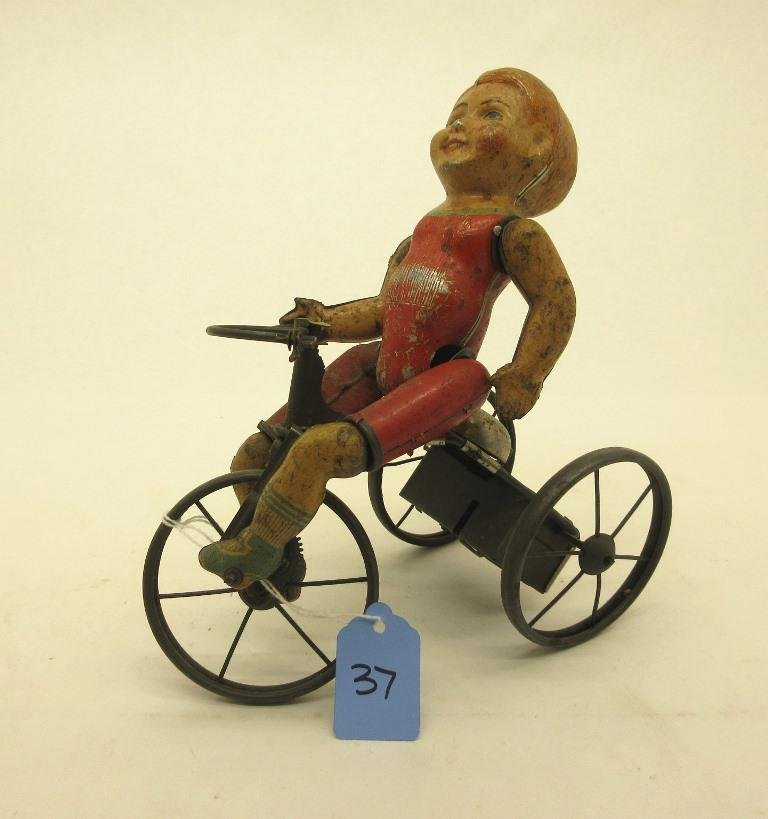 """MARX """"WONDER CYCLIST"""" TRICYCLE WIND-UP TOY - LEG NEEDS"""