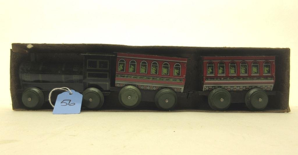 EARLY TIN LITHO TOY TRAIN IN UNMARKED ORIG BOX
