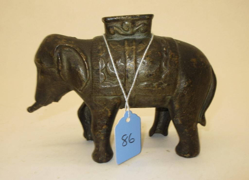 "AC WILLIAMS 5"" CAST IRON ELEPHANT STILL BANK"