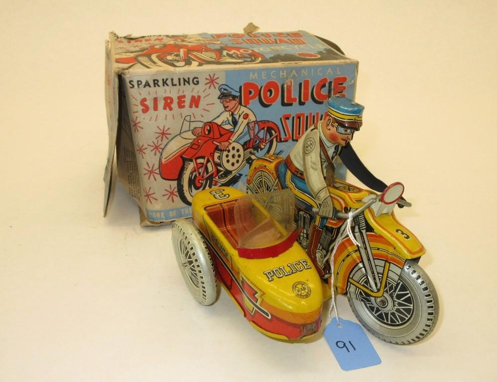 MARX POLICE SQUAD TIN WIND-UP MOTORCYCLE W/ SIDECAR