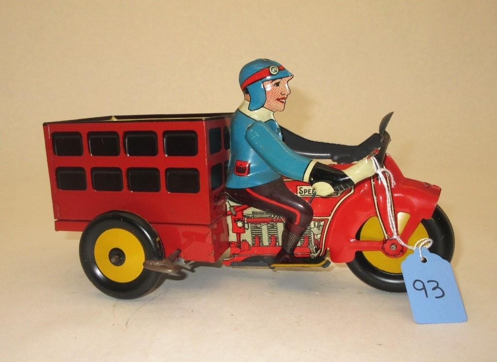 MARX SPEEDY DELIVERY MOTORCYCLE TIN WIND-UP