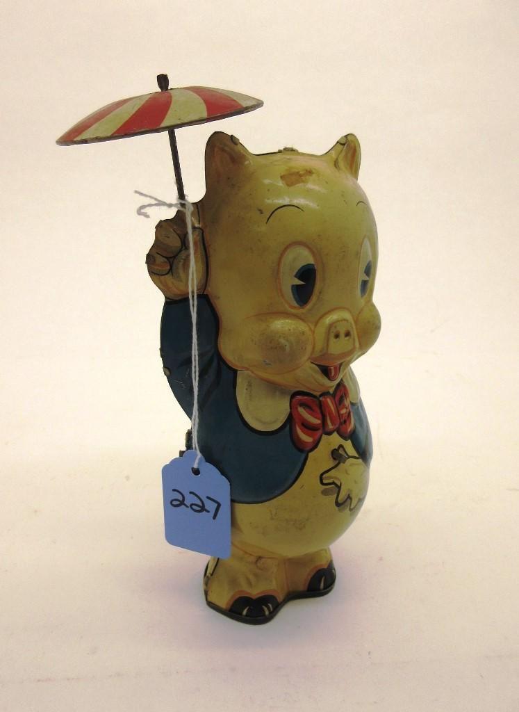MARX PORKY PIG W/ UMBRELLA TIN WINDUP TOY