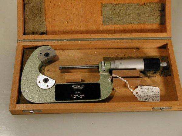 """510:  PAV 1.2 to 2"""" V-anvil micrometer w/ carbide Face"""