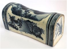 antique Chinese blue & white porcelain pillow w crane &