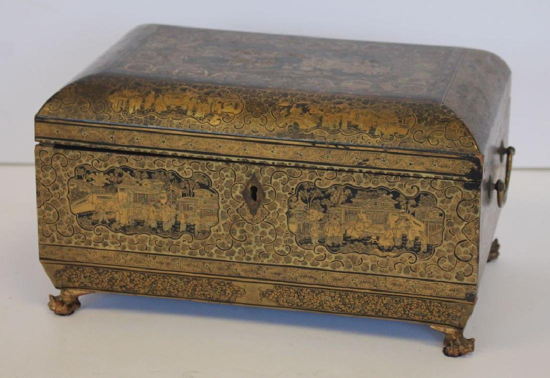 Excellent ca 1830 Chinese lacquer tea caddy w 2
