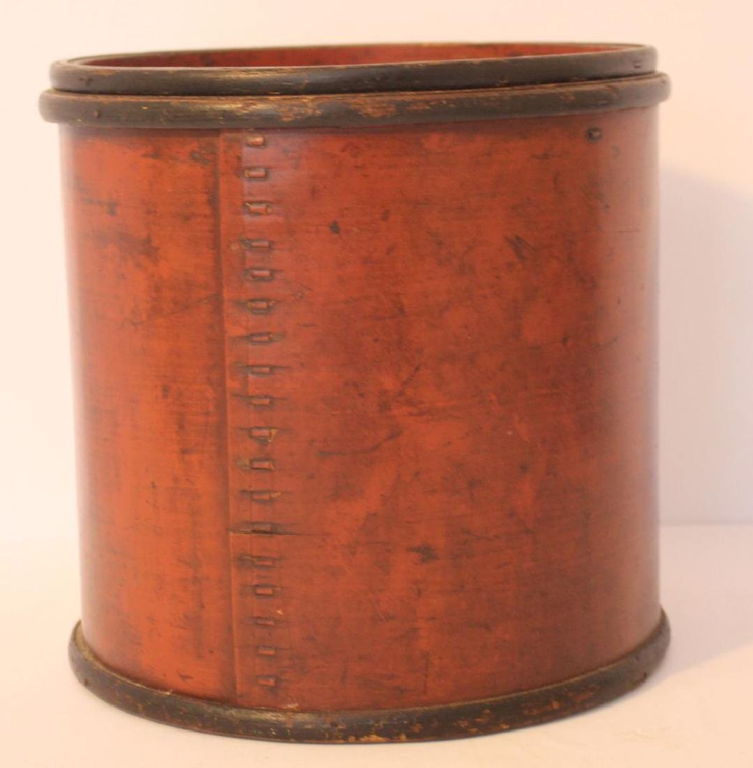 Antique Chinese wooden 2 pc storage box in red & black
