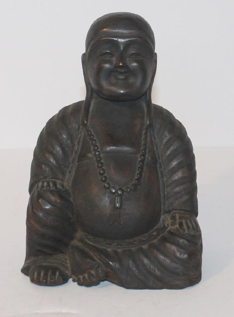 "19thC wooden stting Buddha - 7 1/2"" tall"