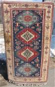 Blue Kazak style Oriental area rug  32 x 59