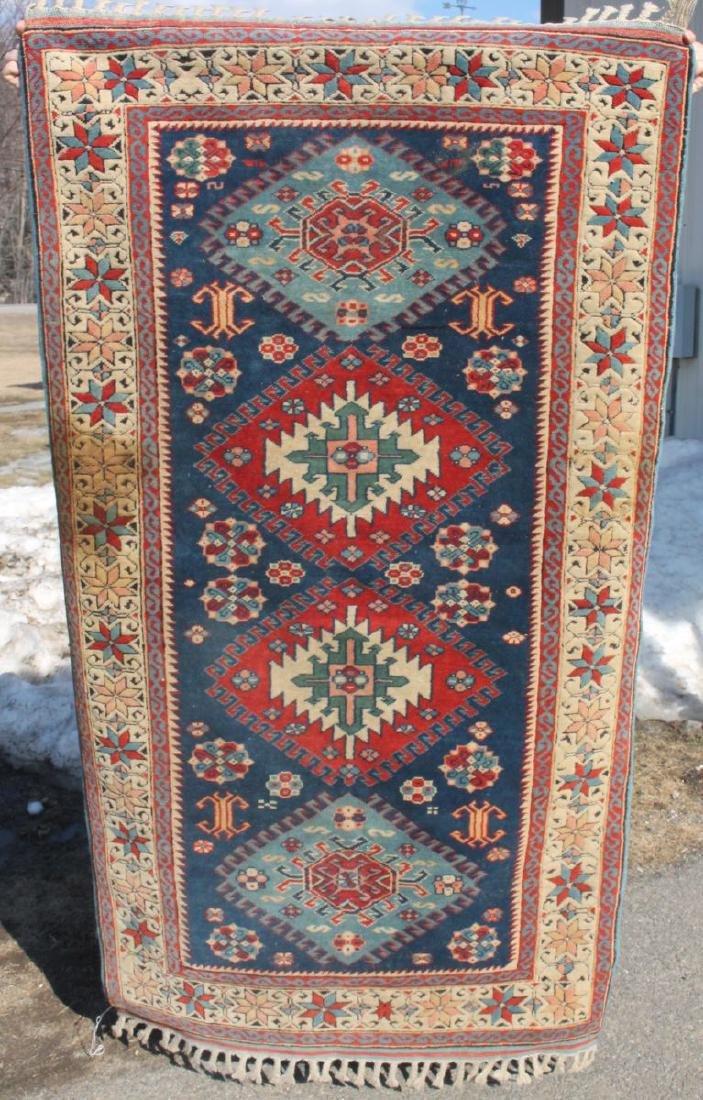 "Blue Kazak style Oriental area rug - 3'2"" x 5'9"" -"