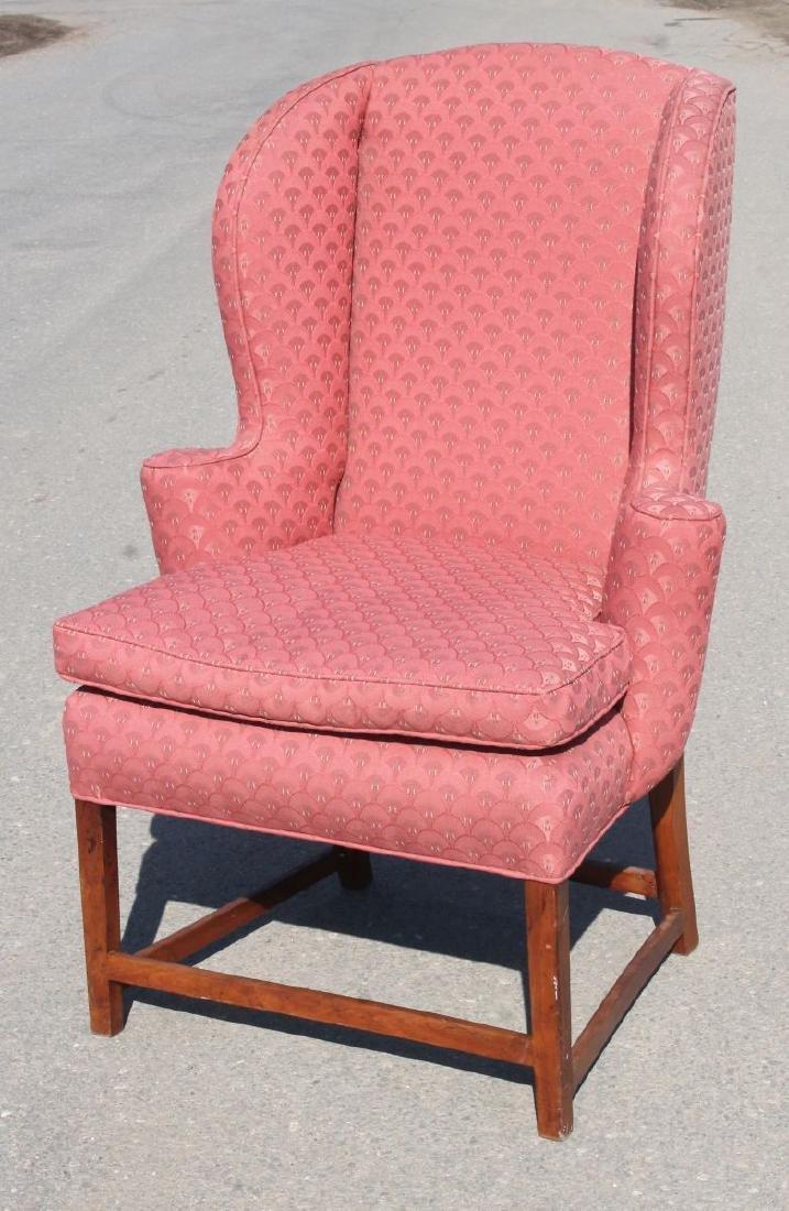 very good Hepplewhite carved cherry ladies wing chair -