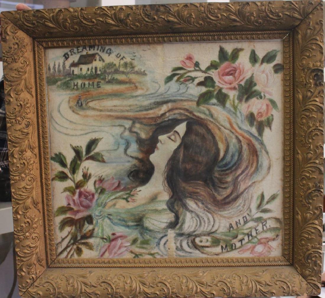 ca 1890's theorem painting on velvet of dreaming woman
